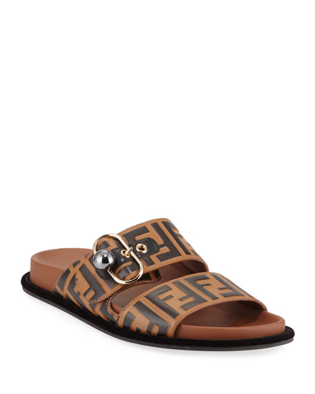 cff03a7fefe5 Fendi Pearland FF Leather Slide Sandal