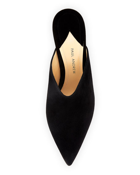Certosa Point-Toe Suede Mule Pump