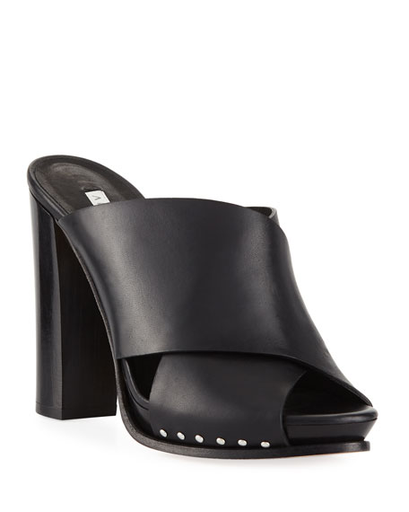 3c8e31b32 Veronica Beard Holt Leather Block-Heel Slide Sandal