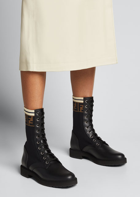 Fendi Leather Combat Boots cheap really lowest price 100% guaranteed for sale with credit card 8mzqz