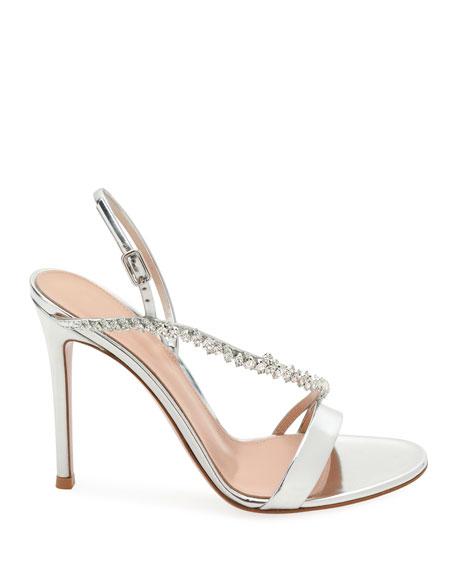 Asymmetric Metallic Strass Sandal