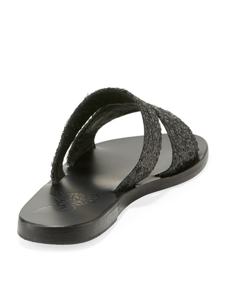 Apteros Cutout Leather Flat Slide Sandal