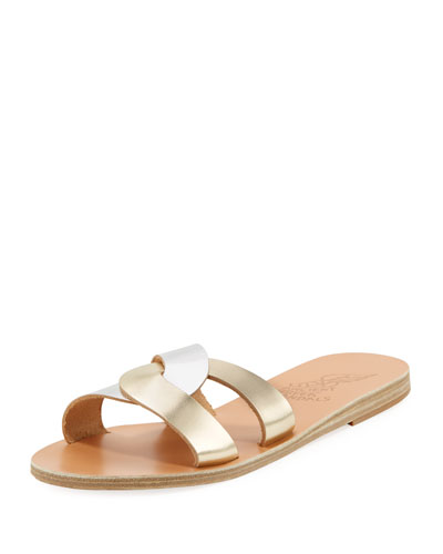 Two-Tone Metallic Flat Sandal