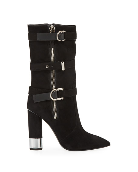 Tall Suede Buckle Boots
