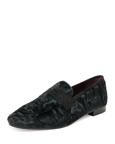 Black Swakara Flaneur Fur Penny Loafer