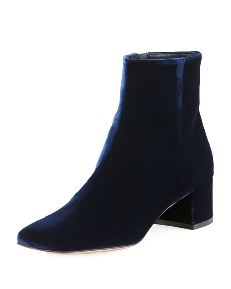 Image 1 of 1: Square-Toe Velvet Booties
