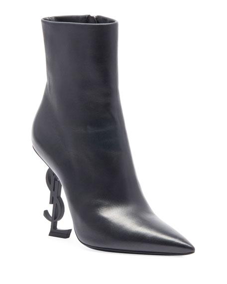 Opyum Leather Booties with Monogram YSL Heel