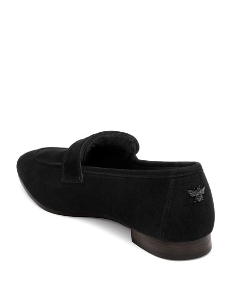 Noir Absolu Suede and Shearling Loafers
