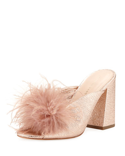 Laurel Crinkle Metallic Mule Sandal with Feather