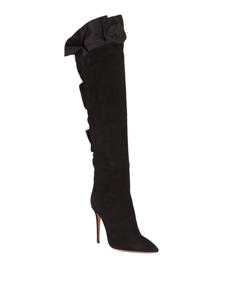 Eiffel Suede Knee Boot with Ruffles