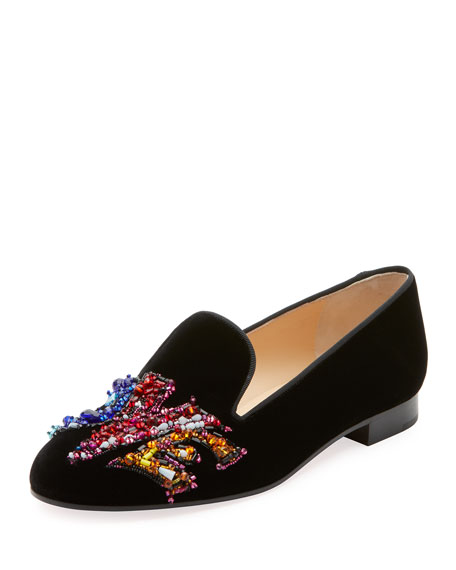 Christian Louboutin Solove Velvet Embellished Red Sole Loafers
