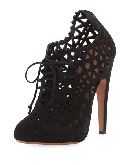 Laser-Cut Lace Ankle Booties