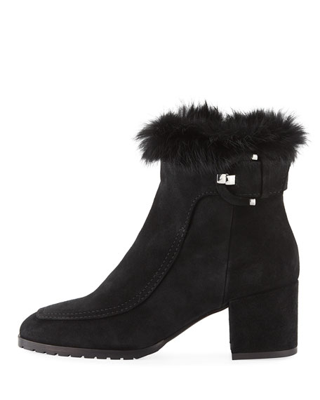 Charlize Suede Booties with Fur Trim
