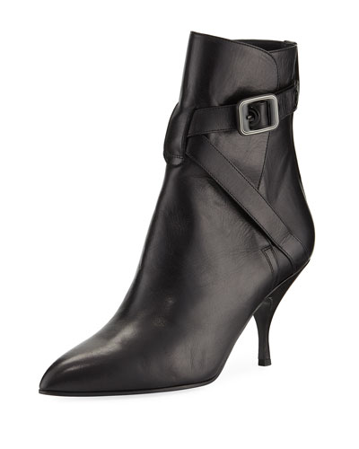 Smooth Leather Booties with Buckle Strap
