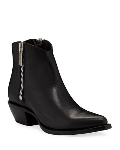 Sacha Leather Zip Shortie Boots