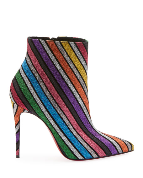 So Kate 100 Stripey Glitter Suede Red Sole Booties