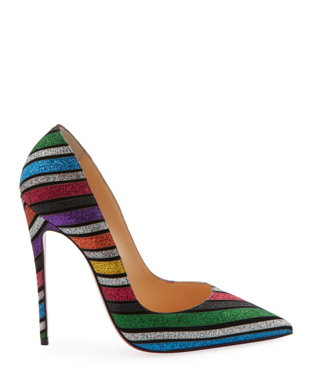 So Kate 120 Stripey Glitter Suede Red Sole Pumps