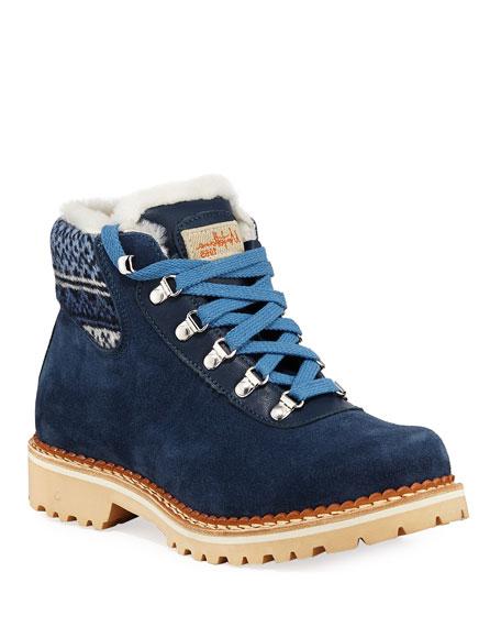 La Montelliana Clara Suede and Jacquard Boots