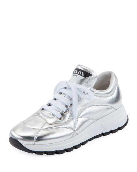 Quilted Leather Trainer Sneakers, Argento