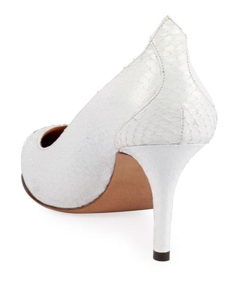 Pavis Snakeskin Metal-Toe Pumps, White