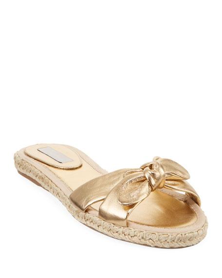 Heli Metallic Flat Sandals, Gold