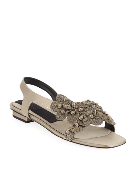Zinnia Embroidered Flat Sandals, Taupe