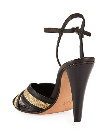 Olympia Fabric/Leather Ankle-Wrap Sandals