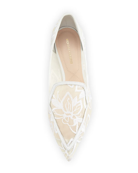 Beya Orchid Embroidered Mesh Point-Toe Flat Loafers