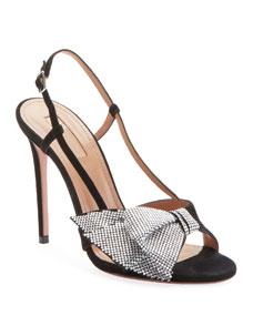 1a036dfe6ccd Aquazzura Flash Dance Crystal-Bow Sandals