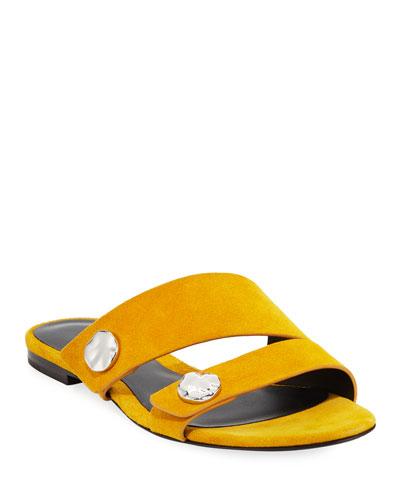 Drum Flat Suede Slide Sandals