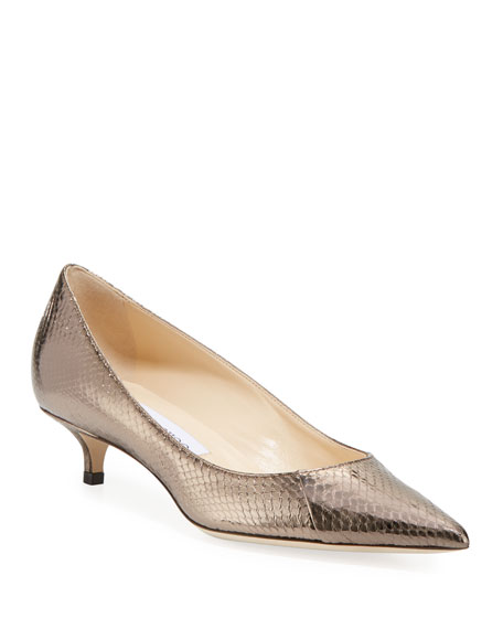Image 1 of 1: Amelia Snakeskin Kitten Pumps