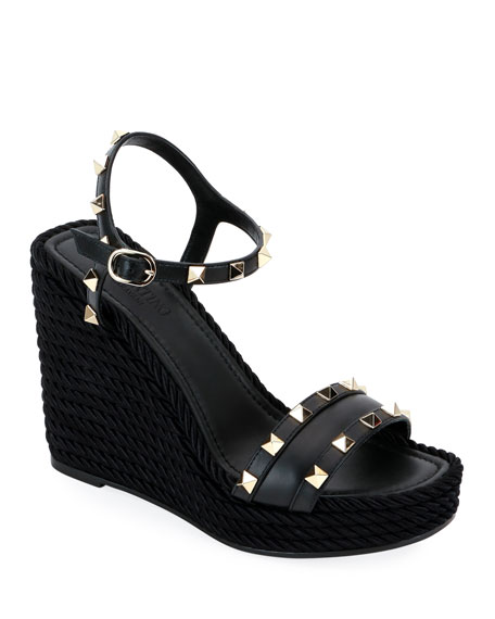 Rockstud Leather Wedge Sandals