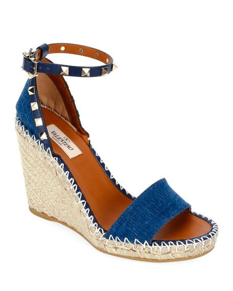 Image 1 of 1: Denim Rockstud Wedge Espadrilles