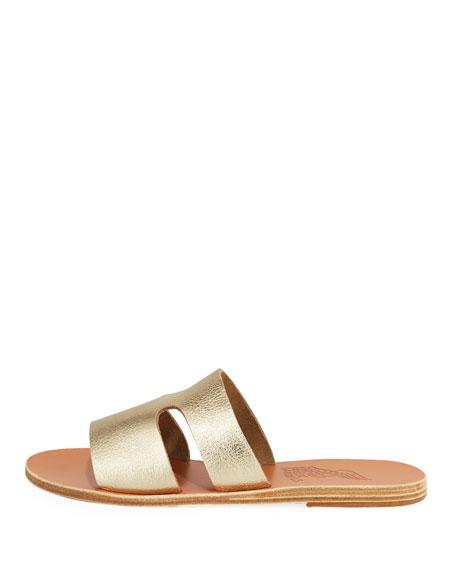 Apteros Cutout Metallic Leather Flat Slide Sandals