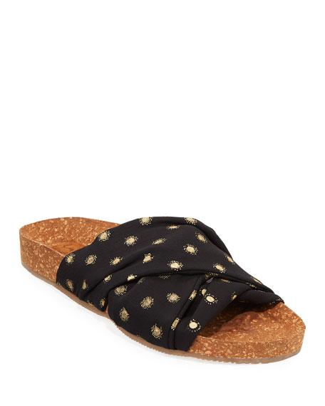 Suki Metallic-Dot Cork Flat Sandals