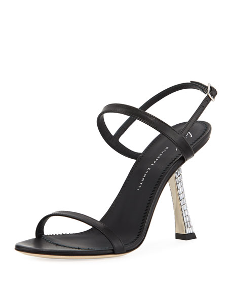 Leather Sandals with Crystal Heel
