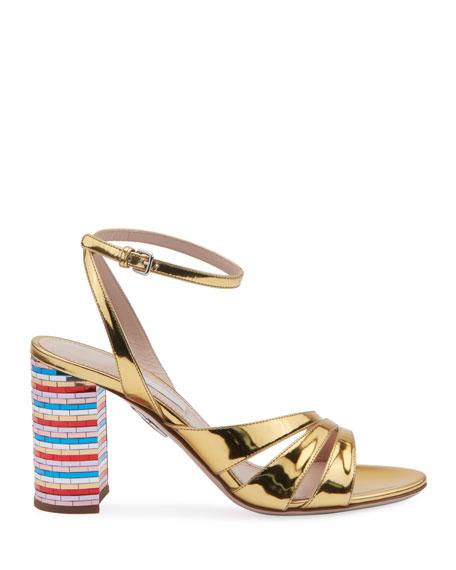 Metallic Strappy Sandals with Rainbow Heel