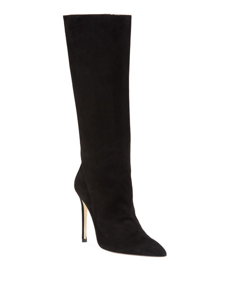 Porto Suede Pointed-Toe Boot, Black