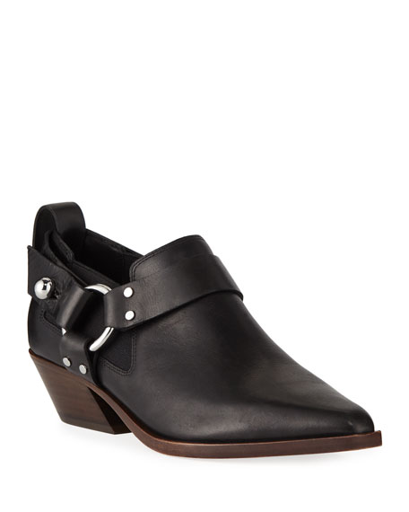 Leather Western Harness Ankle Booties