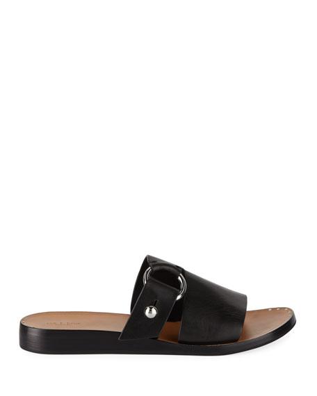 Arc Flat Leather Slide Sandals