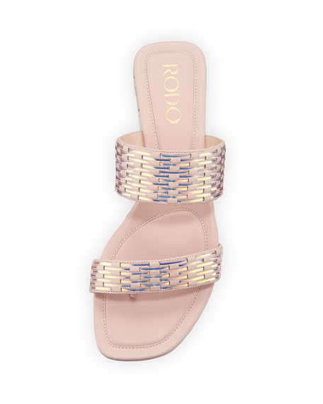 Metallic Woven Leather Sandals