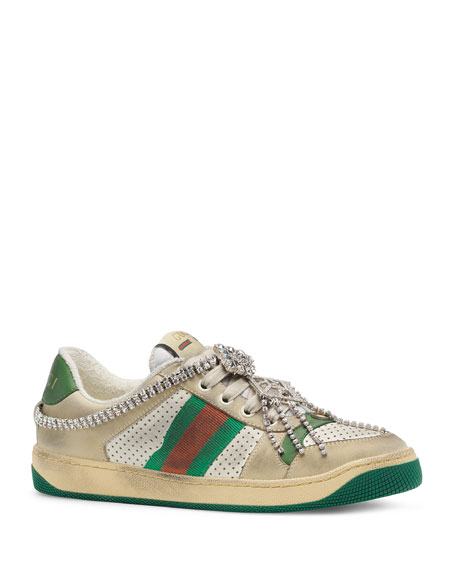Screener Distressed Sneakers With Crystals by Gucci