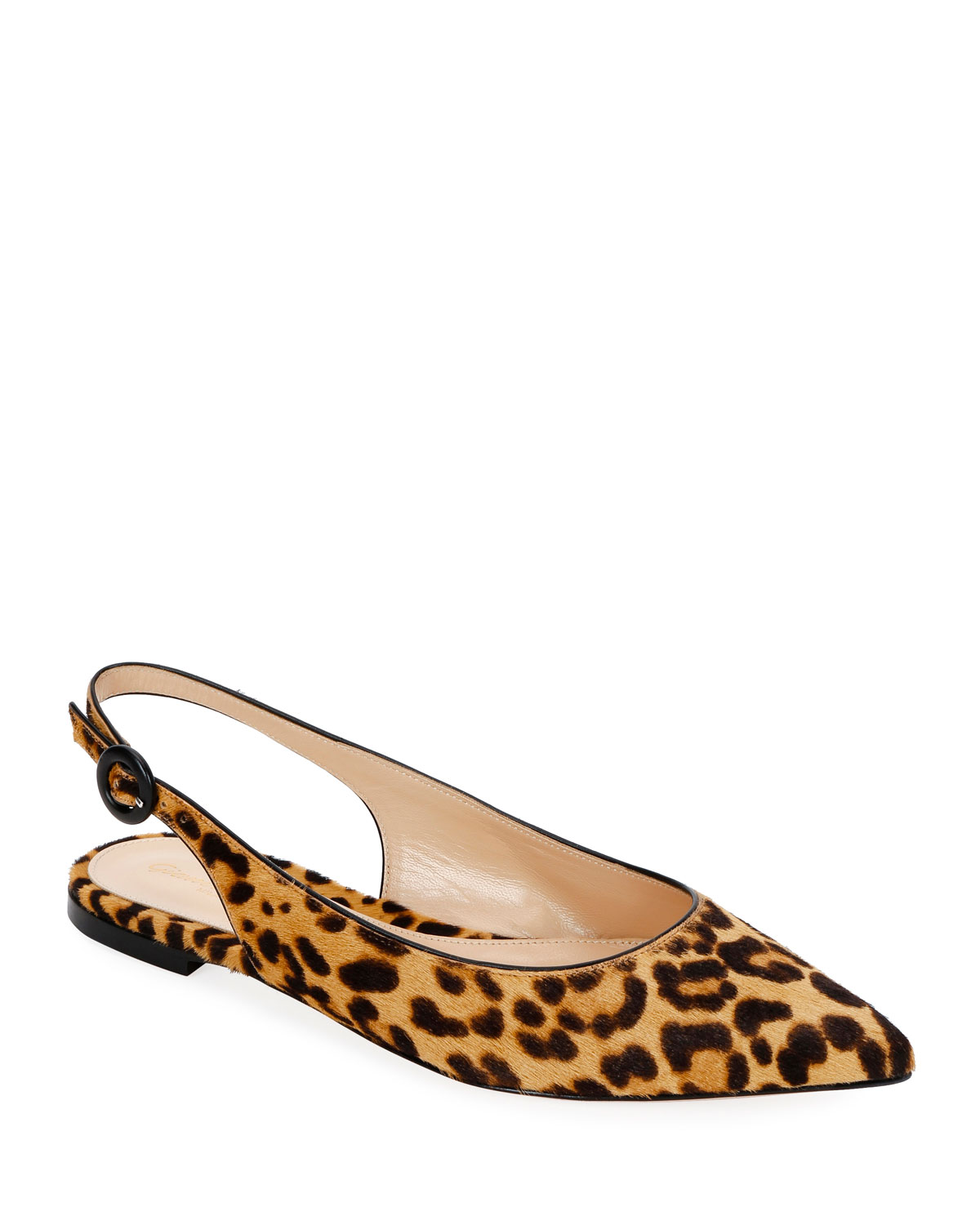 Leopard Calf Hair Slingback Flats by Gianvito Rossi