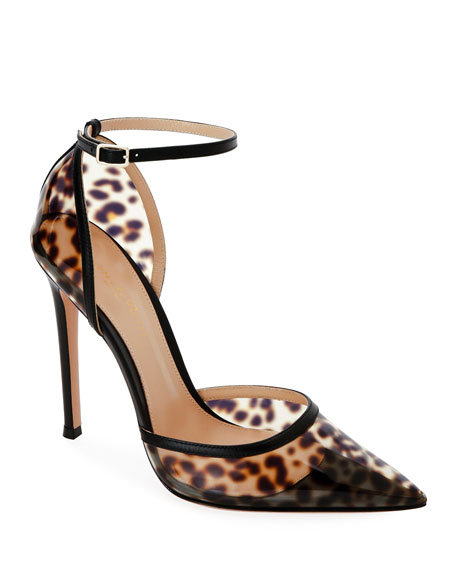 Leopard Plexi Pointed d'Orsay Pumps