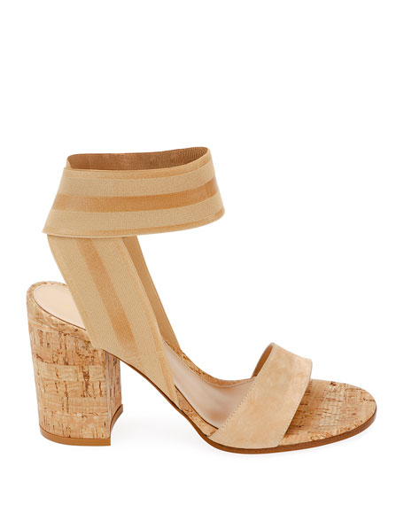 Stretch-Strap Cork Sandals