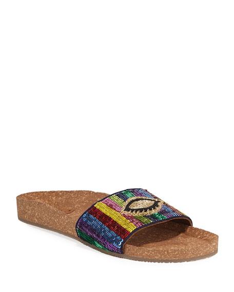 Noona Sequined Cork Slide Sandals