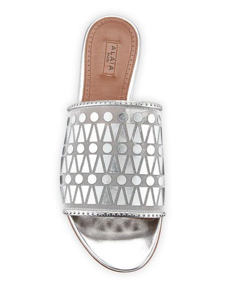 Filet Metallic Leather Slide Sandals