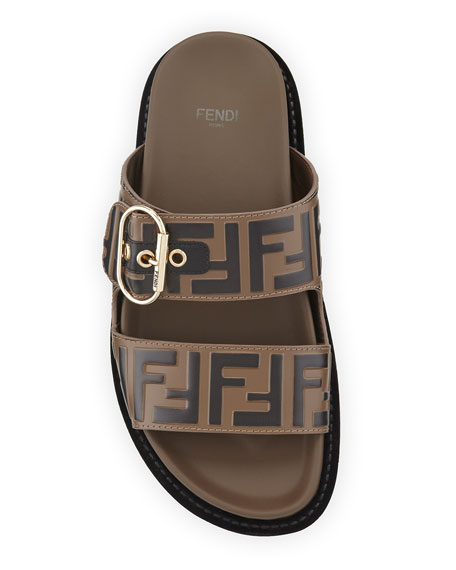 Leather FF Slide Sandals