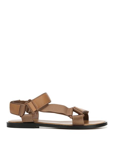 Parks Flat Leather Grip-Strap Sandals