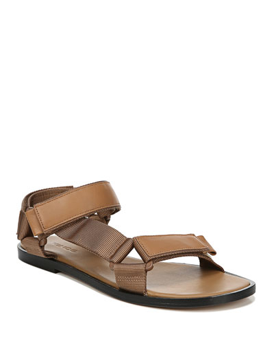 Parks Flat Leather Grip-Strap Sandals